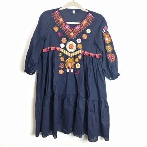 imported Dresses - Navy Embroidered dress with tassels   Small